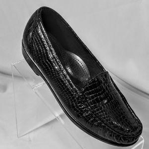 SAS Simplify Black Croc Moccasin Loafers 7.5 Wide